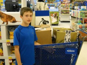 As part of a challenge for a school project, Thomas chose to collect donations and donated items to provide for the feeding and care of our cats and dogs while we work to place them in loving Forever Homes.