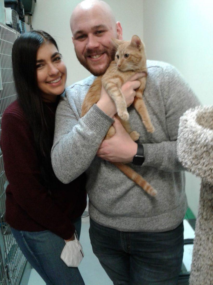 Kitten Mango with family